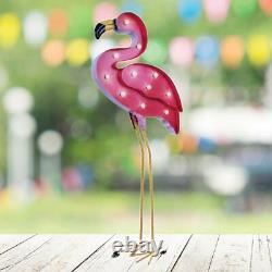 GardenKraft Garden & Outdoors Warm White Solar Powered Light Pink Bird Flamingo