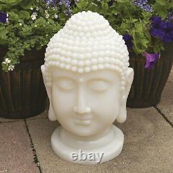GardenKraft Outdoor Garden & Patio Solar Power Light Up Religious Buddha Head