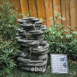 Garden 46cm Mountain Rock Water Feature LED Solar Outdoor Fountain Statue Decor