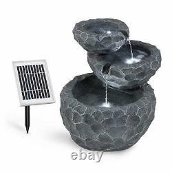 Garden Fountain Bird Bath 3 Tier Cascade Solar Powered Outdoor Water Pump LED
