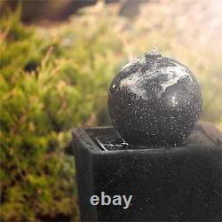 Garden Fountain Solar Outdoor Patio Ball Stone Pump Decor 200l/h LED Basalt Look