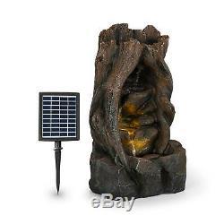 Garden Fountain Tree Solar Fountain 2.8 W Polyresin 5h Battery LEDs Wood Look