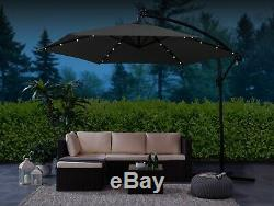 Garden LED Solar Parasol 3M Banana Patio Sun Umbrella Cantilever Canopy