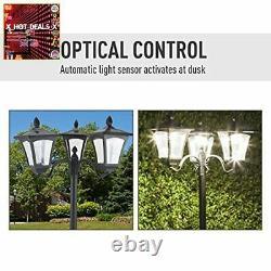 Garden Lamp Post Lantern Black 3-Light Victorian Lamposts Tall Outdoor Patio NEW