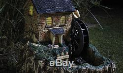 Garden Mill Water Feature Solar Powered Fountain LED Light up Windows & Door NEW