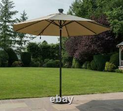 Garden Outdoor 3m Garden Round Parasol Solar Auto Opening LED Solar Panel Taupe