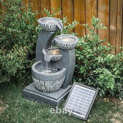 Garden Patio Polyresin Water Feature Solar Indoor Outdoor Fountain with LED Lights
