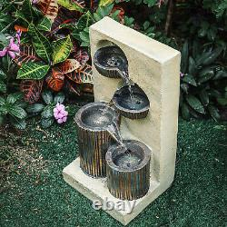 Garden Patio Water Fountain Solar/Electric LED Water Feature Cascading Statues