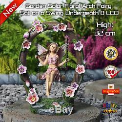 Garden Solar Floral Arch Fairy Sat on a Swing Underneath 8 LED
