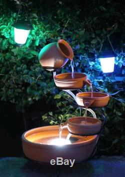 Garden Solar Powered Terracotta Cascade Water Fountain Feature With LED Lights