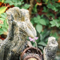 Garden Solar Vintage Tree Log Water Feature Fountain LED Light Polyresin Statues