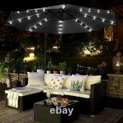 Garden Sun Parasol Aluminium 32 LED Cantilever Umbrella Lighting Solar 300cm