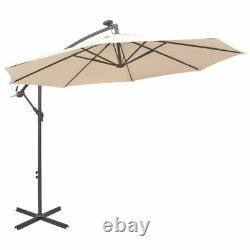 Garden Sunshade Parasol 3M Large Hanging Outdoor Umbrella with Solar LED Lights