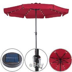 Garden Umbrella 3.3 m Aluminum 32 LED Lights Solar Patio Sun Parasol 330 cm Red