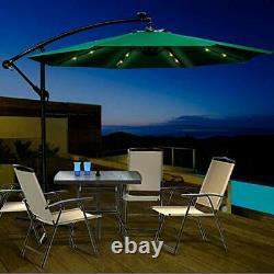Garden Umbrellas with Parasol Base & Solar LED Lights 2.7M Outdoor