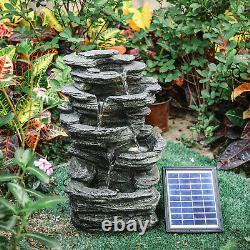 Garden Water Feature Rockfall Stone Solar Cascade LED Statue Garden Ornament NEW