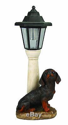 Gardenwize Garden Yard LED Solar Light Lamp Post Dachshund Puppy Dog Ornament