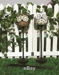 Gardenwize Pack Of 2 Owl Stake Stick Solar LED Lights Garden Feature Statue
