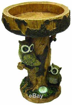 Gardenwize Solar LED Light Owl Garden Patio Birdbath Bird Bath Table Feature