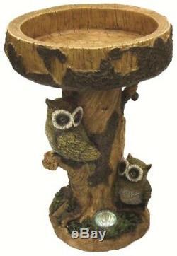 Gardenwize Solar LED Light Owl Garden Patio Decor Birdbath Bird Bath Table NEW