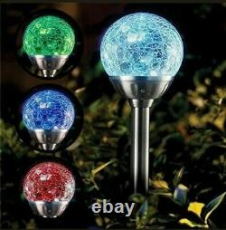 Glass Solar Lights Crackle Ball Colour Changing x4 Garden Patio Offers Welcome