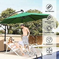 Green Garden Umbrella with Parasol Base and Solar LED Lights 2.7 M