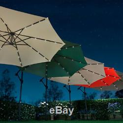 Harrier 3m Overhanging Garden Parasols RANGE OF COLOURS LED Patio Umbrellas