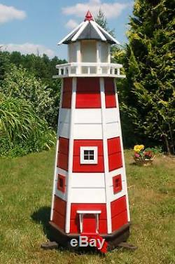 Huge XXL Lighthouse With Solar-Beleuchtung 1,40 M Red/White LED Garden Ornament