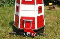 Huge XXL Lighthouse with Solar Lighting 1,40m Red/White, LED, Garden Ornament