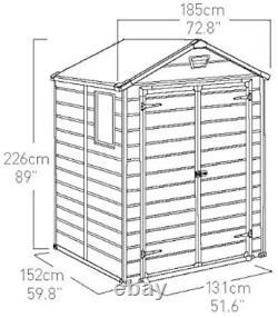 Keter Manor Outdoor Plastic Garden Storage Shed, Beige, 6 x 5 ft
