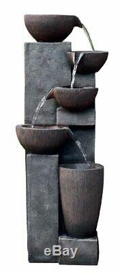 LED Lit Burgos Pouring Bowls Cascading Garden Water Feature Fountain Outdoor Use