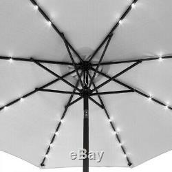 LED Solar 3M Round Garden Parasol Sun Shade Outdoor Patio Umbrella With Crank Tilt