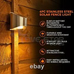 LED Solar Powered Fence Wall Lights Garden Lamp Step Path Decking Outdoor Patio