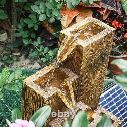 LED Water Solar Fountain 4 Tiers Cascading Feature Wood Trunk Barrel Garden Deck