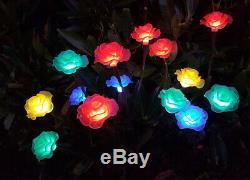 LIVIVO 3 x SOLAR COLOURED 15 ROSES FLOWER FLORAL TREE OUTDOOR GARDEN LED LIGHTS