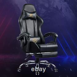 LUCKRACER Gaming Chair Massage with footrest Office Chair with Massage Lumbar PU