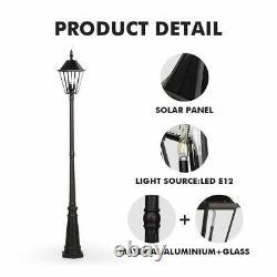 LUTEC 12513LE4-SL LED Post Solar Light Outdoor Vintage Street Lights for Lawn