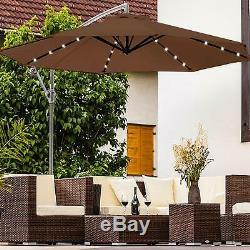 Large 3m Umbrella Parasol Outdoor Solar Patio Garden Lights Sunshade 40led