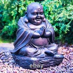 Laughing Buddha With Solar Ultra Bright LED Lights Garden Decor Bronze Effect