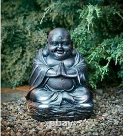 Laughing Buddha With Solar Ultra Bright LED Lights Garden Decor Stone Effect