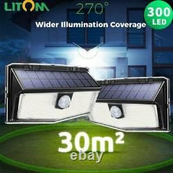 Litom 300 LED Outdoor Solar Lights PIR Motion Sensor Garden Security Wall Lamp