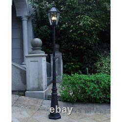 Lutec, Outdoor LED Solar Post Lantern Yard Street Lamp w Beveled Glass