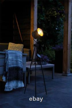 Luxform Solar Industrial Outdoor Garden Patio LED Studio Copper Tripod Light