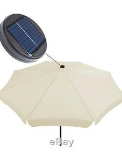 Modern Outdoor Round Garden Sun Shade Umbrella LED Solar Powered Parasol 3.3m