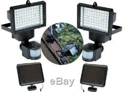 NEW 2 x 60 LED PIR MOTION SENSOR SOLAR SECURITY FLOODLIGHT GARDEN OUTDOOR LIGHT