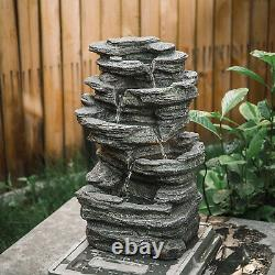 Natural Slate Garden Water Feature Outdoor LED Fountain Waterfall Electric/Solar