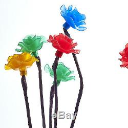 New 3 X Coloured 15 Flower Rose Floral Tree Solar Outdoor Garden Led Lights