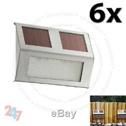 New 6X Solar Powered Door Step Fence Deck Wall LED Bright Lights Outdoor Garden
