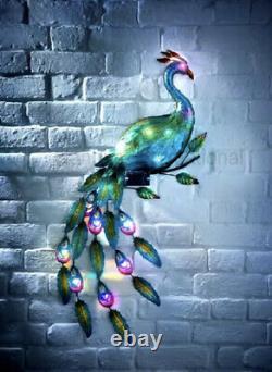 New Solar Wall Peacock Light Art LED Power Metal Garden Ornament Decoration