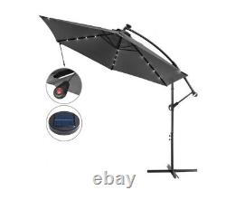 Outdoor Garden 24 LED Solar Sun Parasol In Anthracite Grey 3m Hanging Cantilever